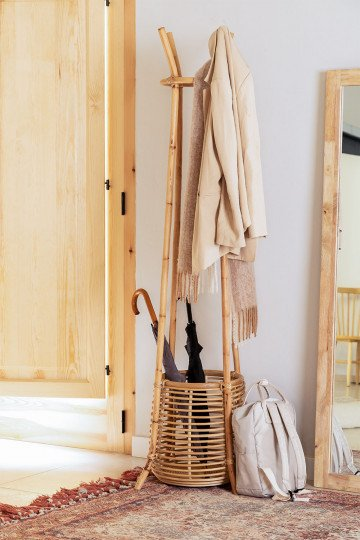 Groll Rattan Coat Rack with Basket