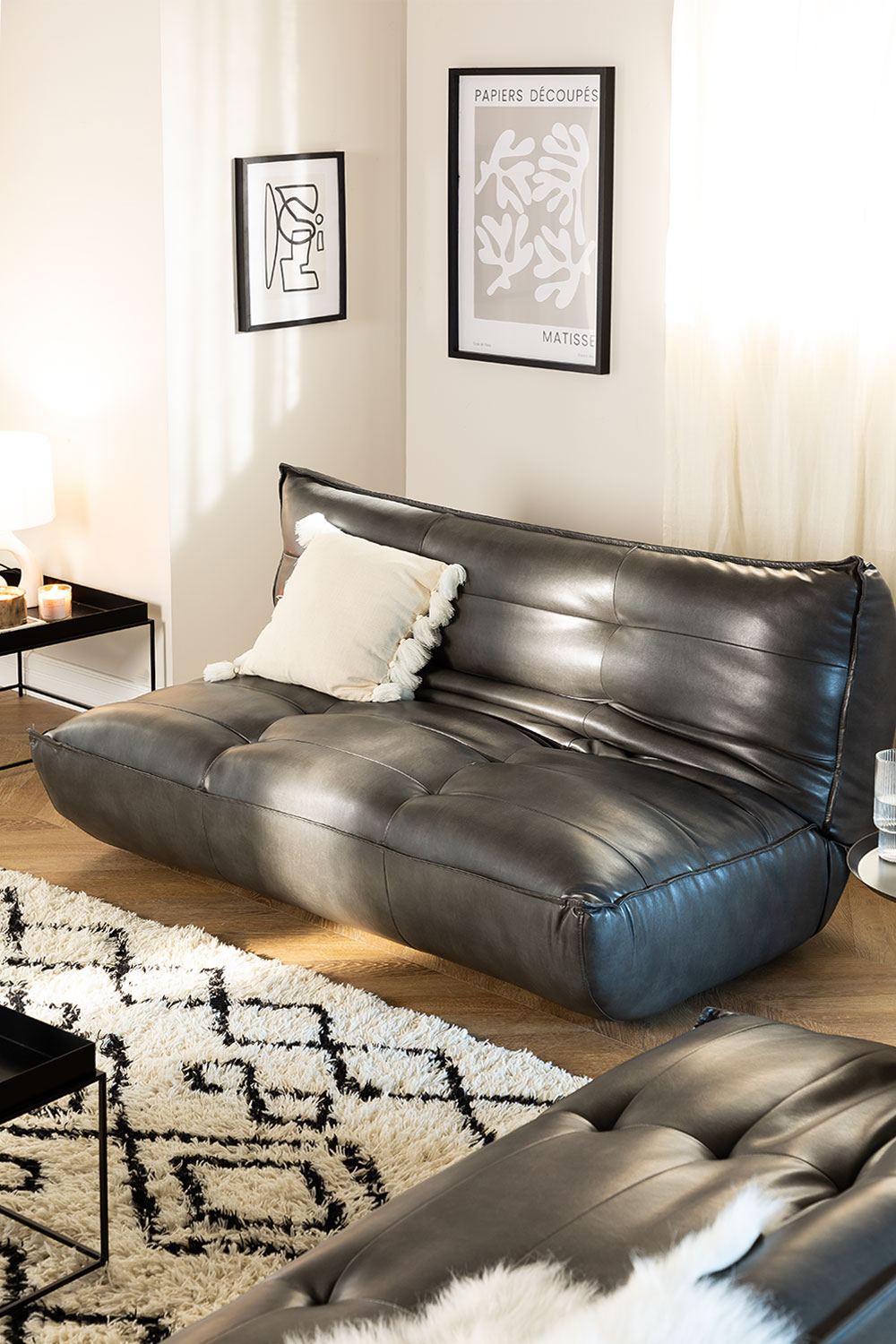 Leatherette 2 seater sofa bed - MATI, gallery image 1