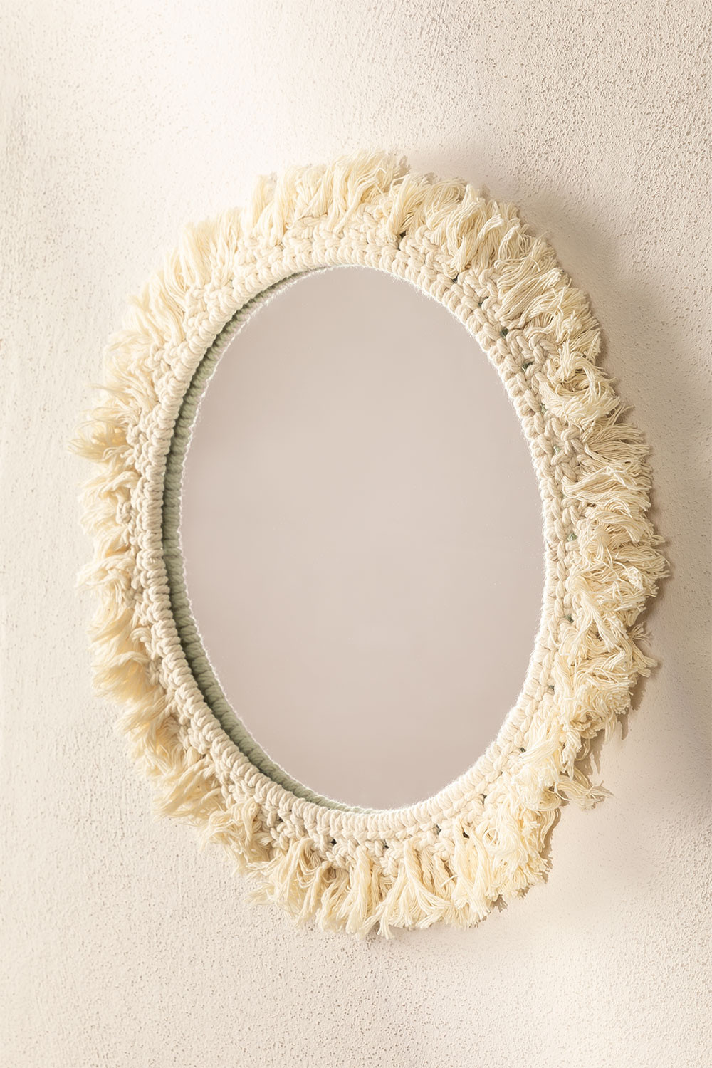 Round Wall Mirror in Macrame (Ø40 cm) Colin, gallery image 1