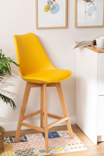 Pack 4 Medium Stools with Nordic SK Upholstered Cushion