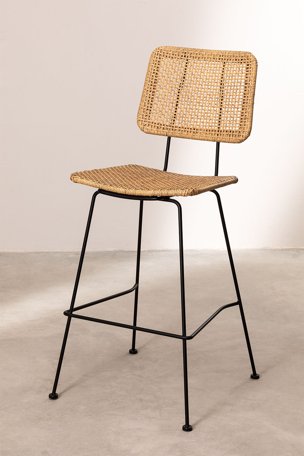 High Stool in Synthetic Wicker Shelly, gallery image 1