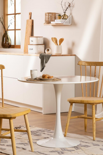Round Dining Table in MDF and Metal Tuhl Style