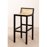 High Stool with Wooden Backrest Mikel, thumbnail image 1