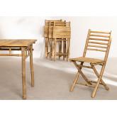 Marilin Bamboo Garden Table and 4 Chairs Set, thumbnail image 4