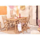 Marilin Bamboo Garden Table and 4 Chairs Set, thumbnail image 1