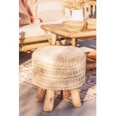 Round Wool & Wooden Stool Jein, thumbnail image 1