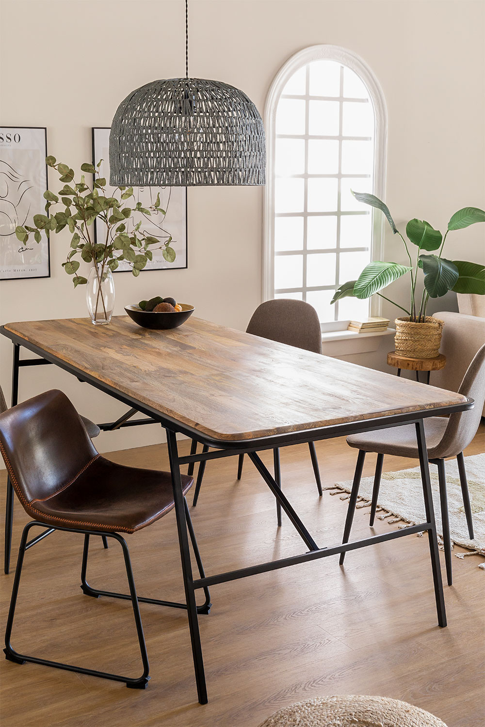 Rectangular Wood Dining Table (200x91cm) Nathar Style, gallery image 1