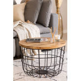 Round Coffee Table in Recycled Wood and Steel (Ø62 cm) Ket, thumbnail image 1