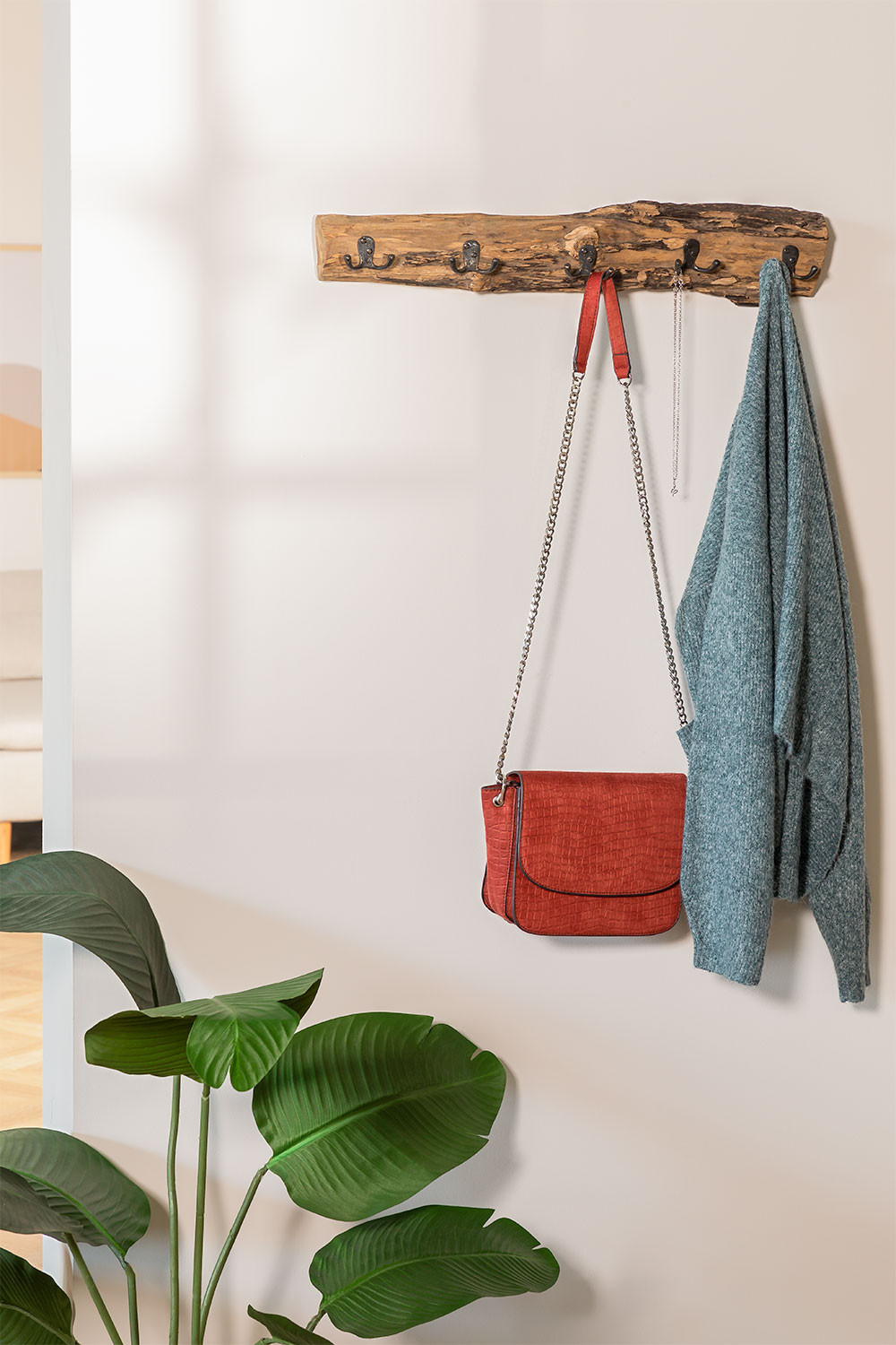 Recycled Wood Wall Coat Rack Trunc , gallery image 979342