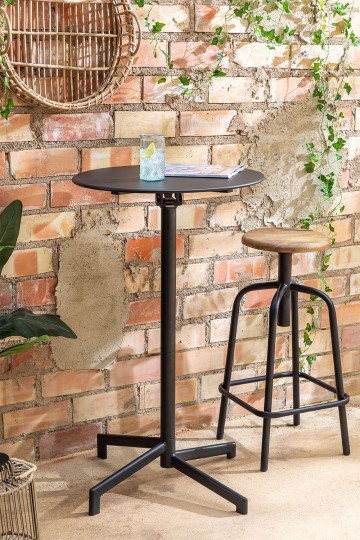 Folding and Convertible Bar Table in 2 heights in Steel (Ø59.5 cm) Dely