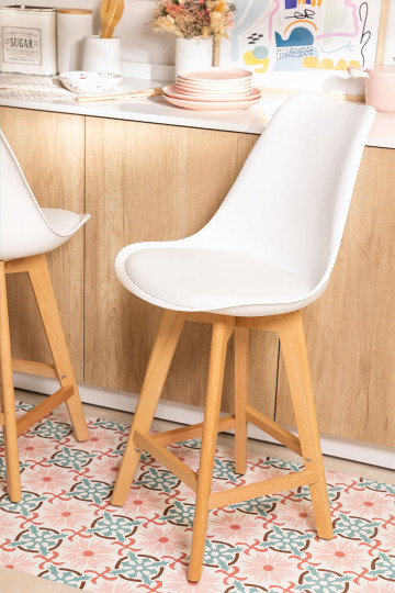 High Stool With Leatherette Cushion Nordic