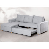 3 Seater Fabric Sofa Bed- Chaise Longue Calvin, thumbnail image 2