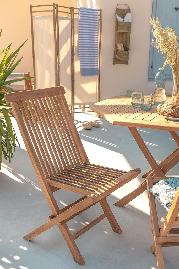 Pack 2 Foldable Garden Chairs in Teak Wood Pira, gallery image 1