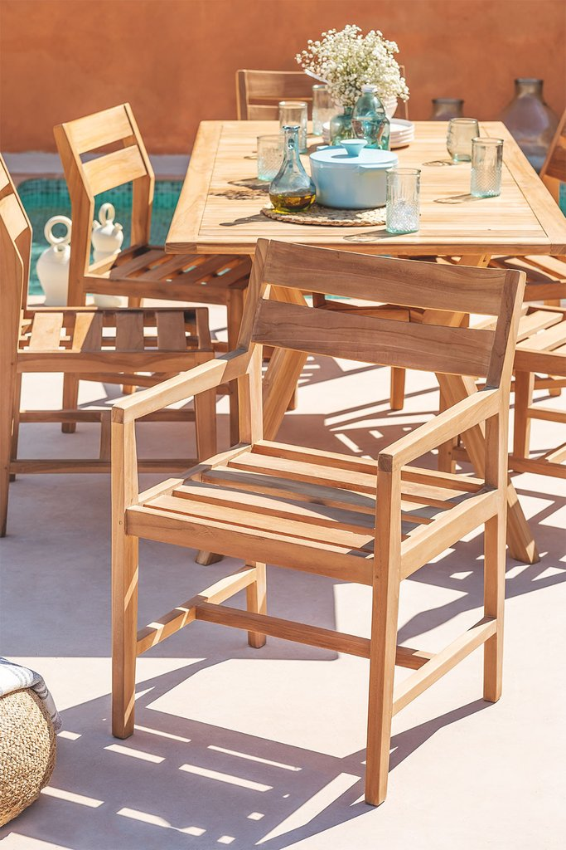Garden Chair with Armrests in Teak Wood Yolen, gallery image 1
