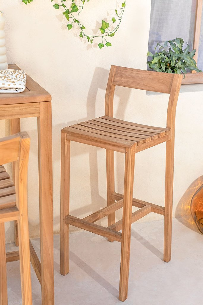 High Stool with Back in Teak Yaki Wood, gallery image 1