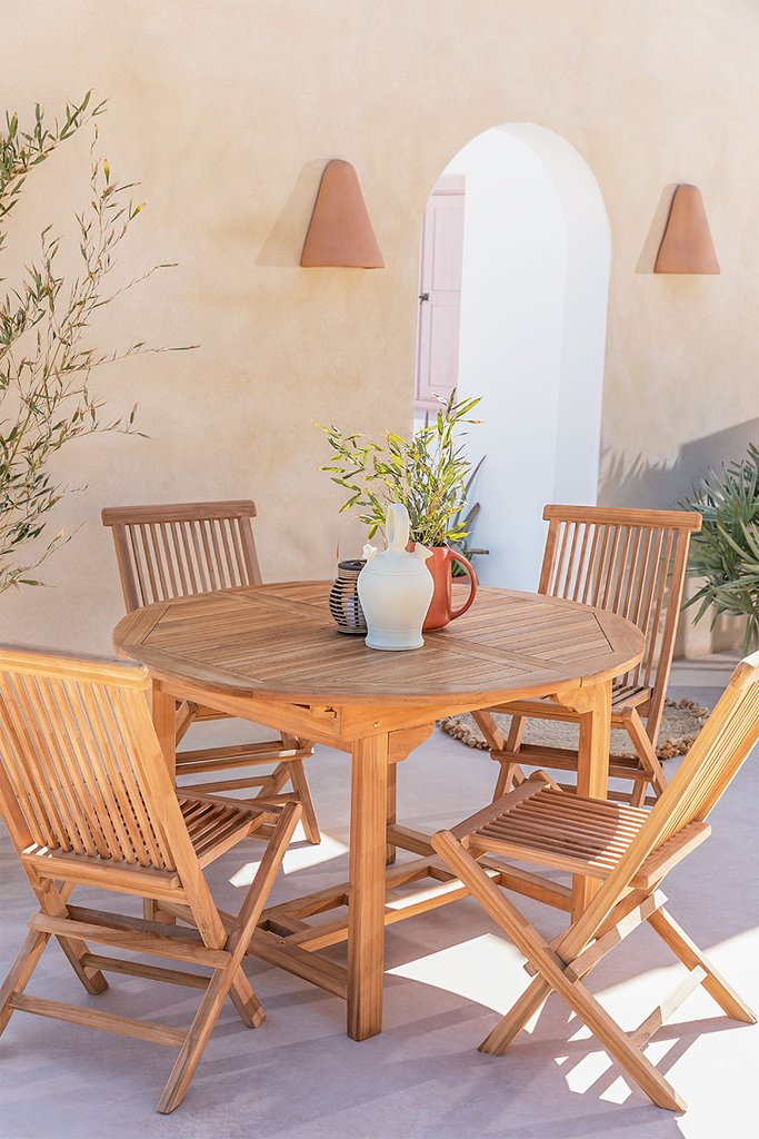 Extendable Table Set (120-170X75 cm) & 4 Folding Garden Chairs in Pira Teak Wood, gallery image 1