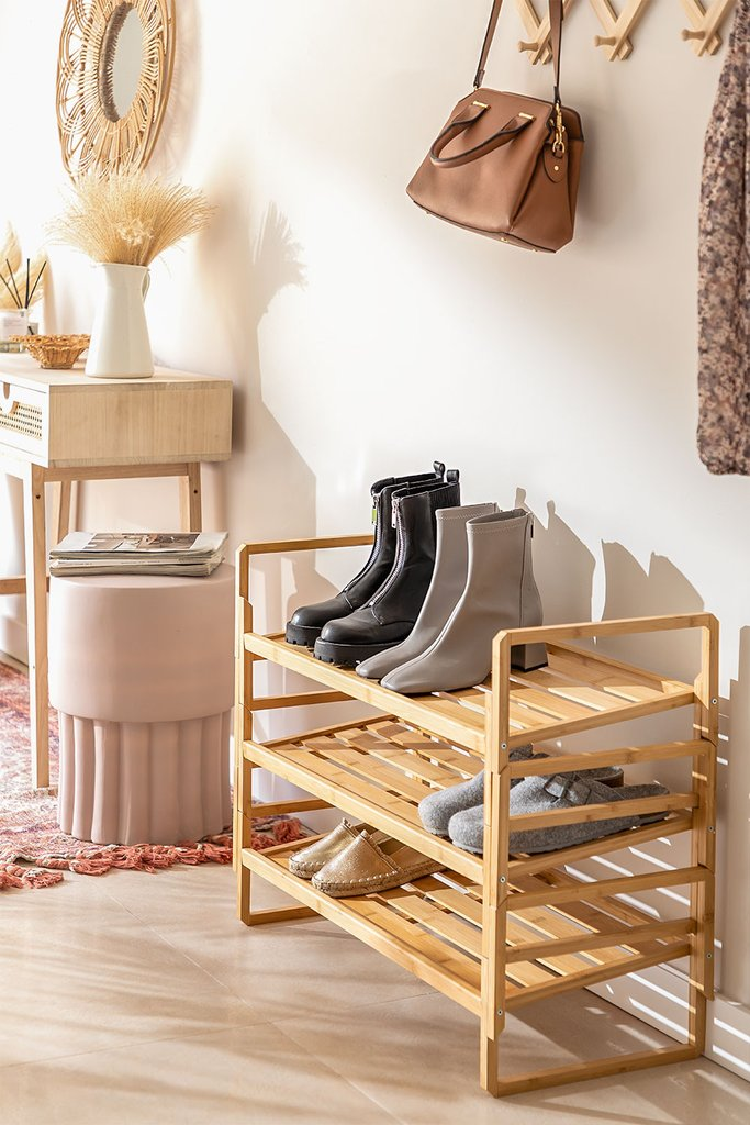Modular Shoe Rack with 3 Shelves in Sultan Bamboo Wood, gallery image 1