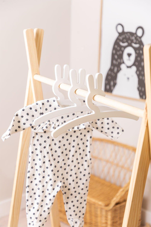 Pack of 3 Wooden Hangers Buny Kids, gallery image 1