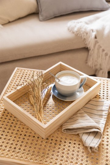 Decorative Tray in Rattan and Arxie Wood
