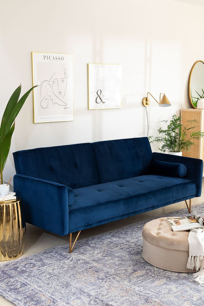3 Seater Sofa Bed Jehrd Velvet, gallery image 1