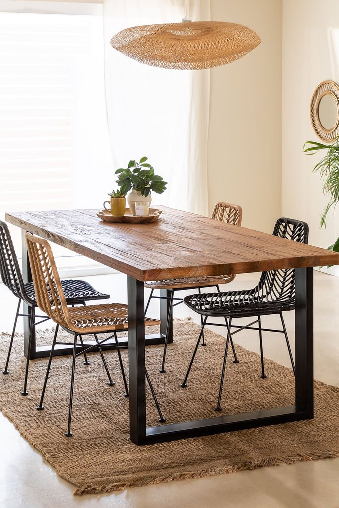 Milet Recycled Wood Dining Table, gallery image 1