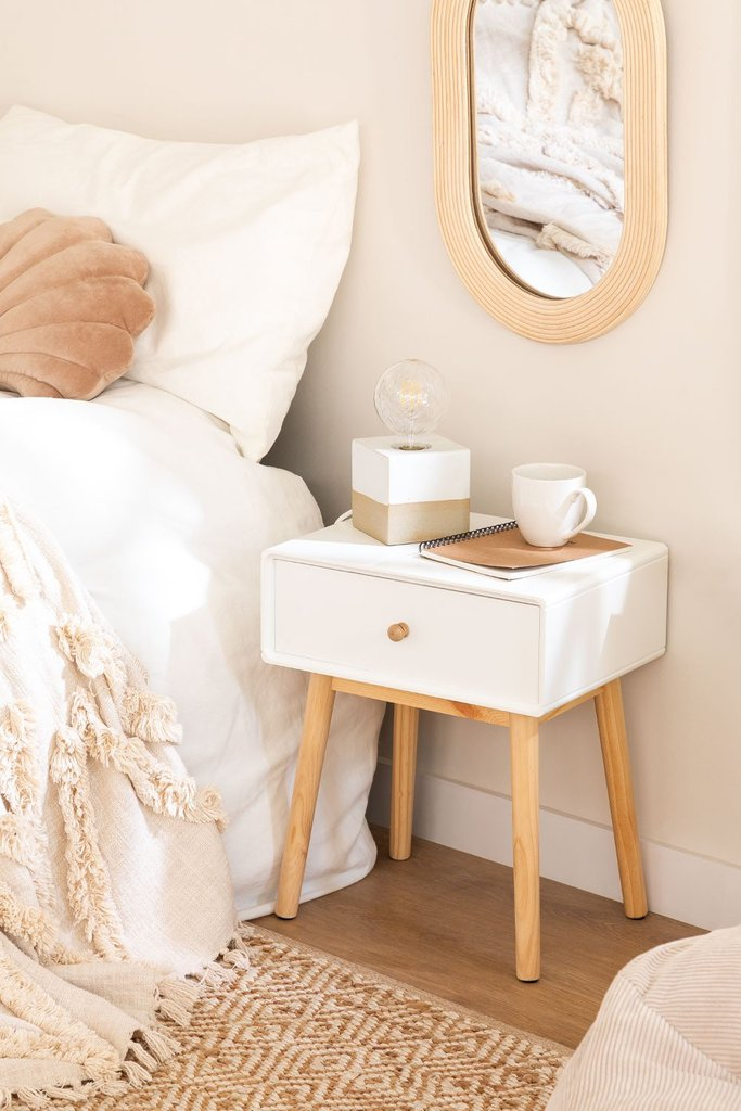 Nightstand in MDF and Lucka Pine Wood, gallery image 1