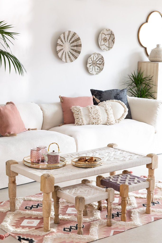 Macrame -Wooden Coffee Table Kiron , gallery image 1