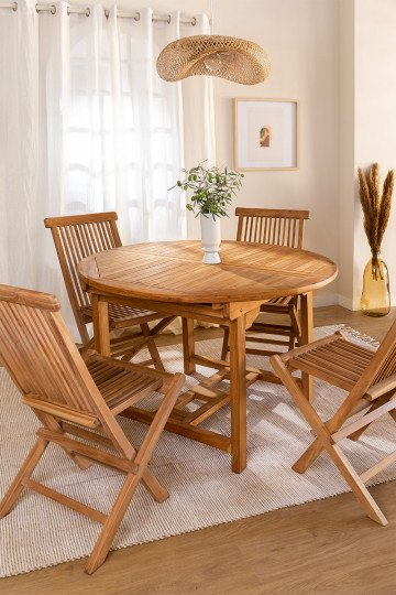 Extendable Table Set (120-170X75 cm) & 4 Folding Chairs in Teak Wood Pira
