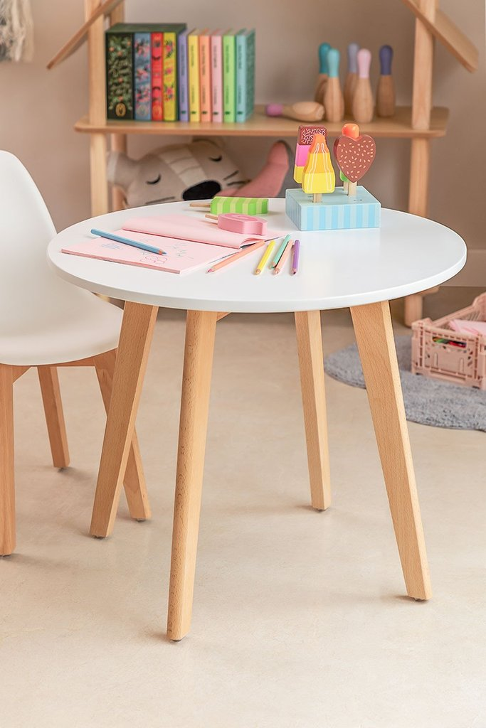 Round table in beech wood and MDF (Ø60 cm) Nordic Kids , gallery image 1