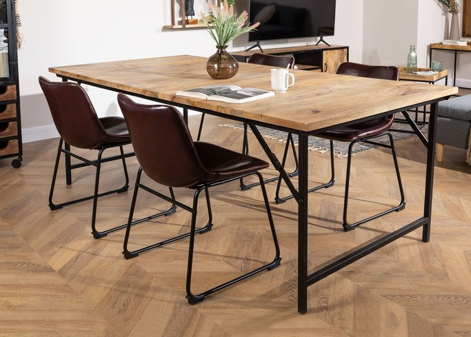 Foldable Recycled Wood  & Steel Dining Table(200x100 cm) Fer, gallery image 1