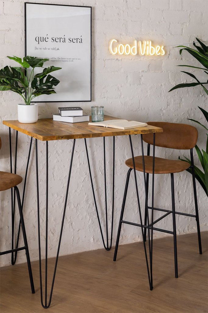Square High Table in Mango Wood (80x80 cm) Meriem, gallery image 1