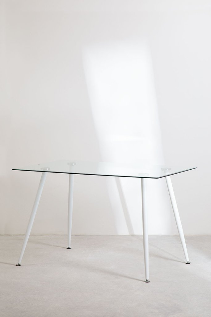 Rectangular Glass and Steel Dining Table (120x80 cm) Lahs, gallery image 1