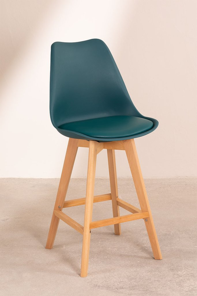 Pack 4 Medium Stools with Upholstered Cushion Nordic SK , gallery image 1