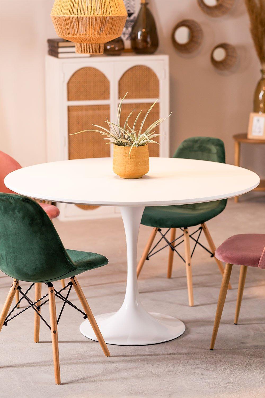 Round MDF & Metal Dining Table Tuhl  (Ø90 cm) , gallery image 1