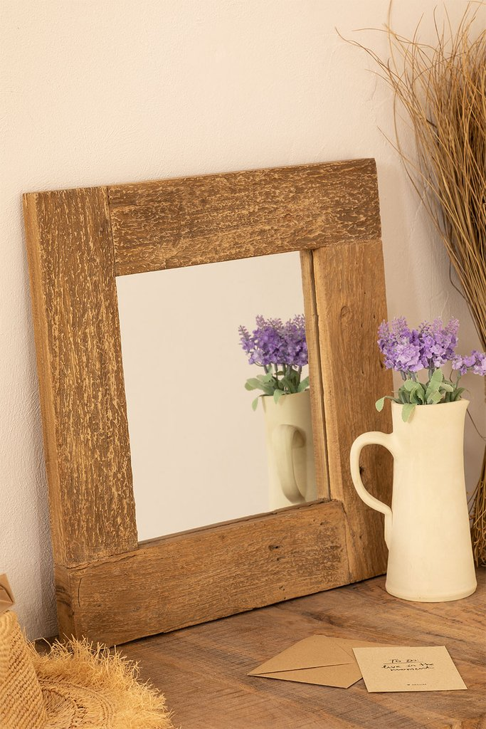 Recycled Wood Wall Mirror (50x50 cm) Taipu, gallery image 1