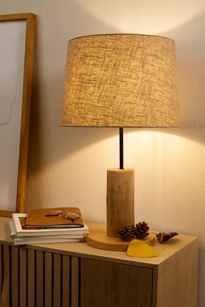 Linen Table Lamp  with  wooden stand Ulga, gallery image 1