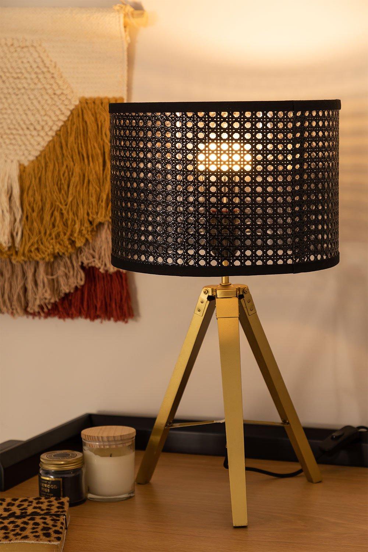 Rattan & Metal Table Lamp Megal , gallery image 1