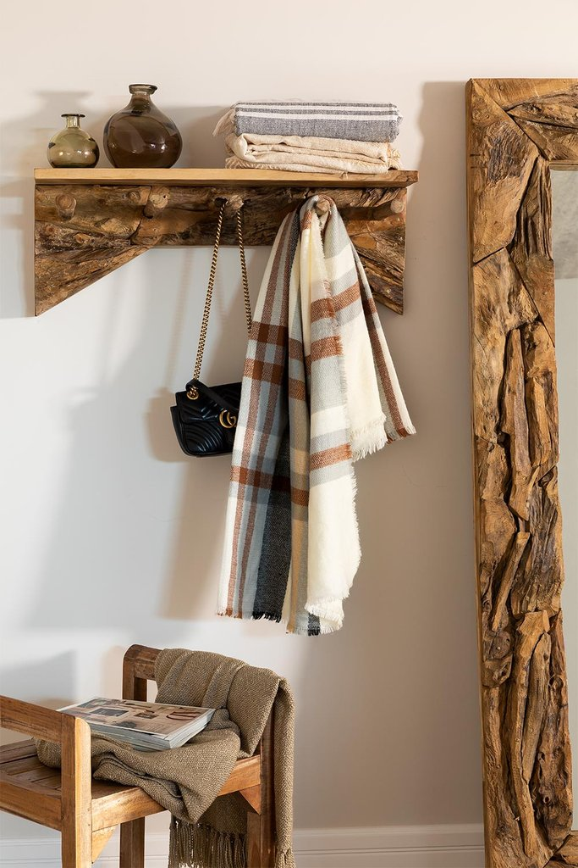 Raffa Wood Coat Rack with Wall Shelf, gallery image 1