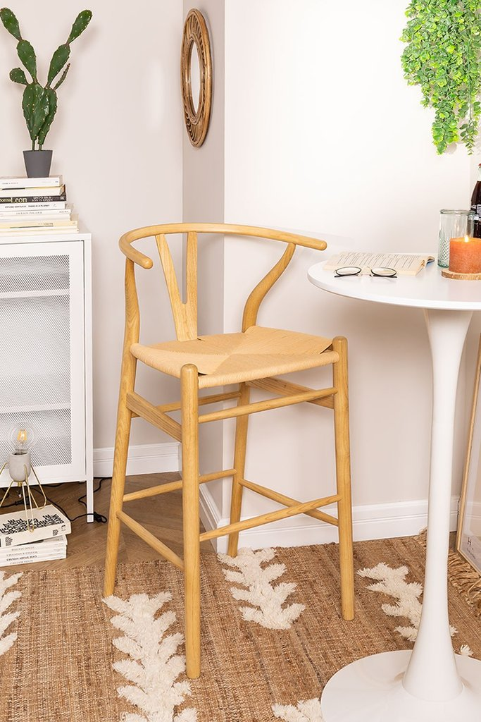 High Stool with Back in Uish Wood, gallery image 1