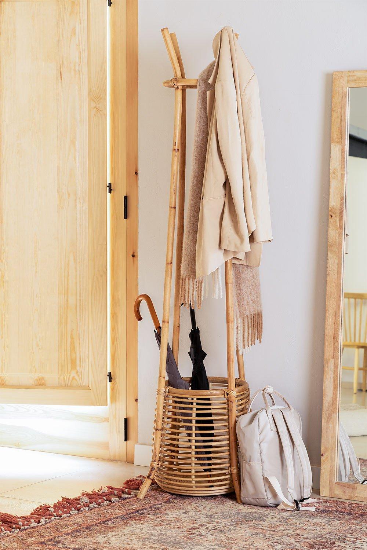 Groll Rattan Coat Rack with Basket, gallery image 1