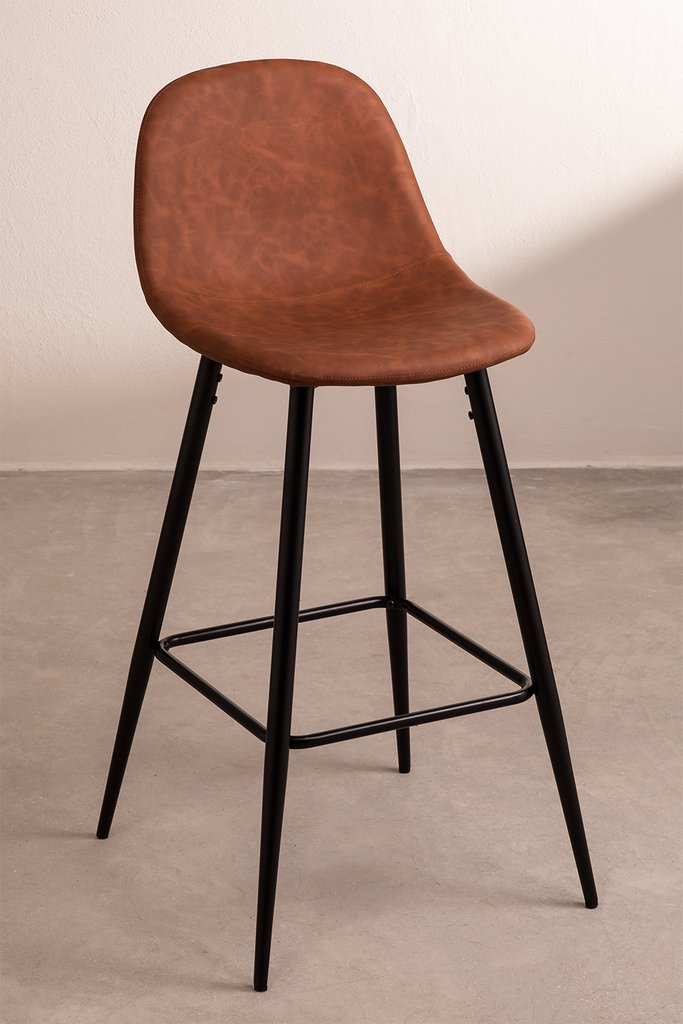 Pack 2 High Stools in Leatherette Glamm, gallery image 1