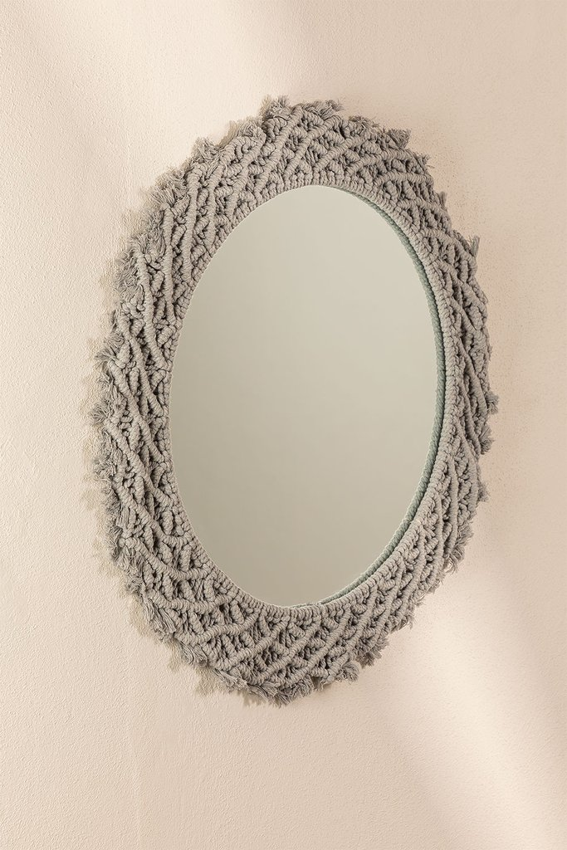 Round Wall Mirror in Macrame (Ø70 cm) Gael, gallery image 1