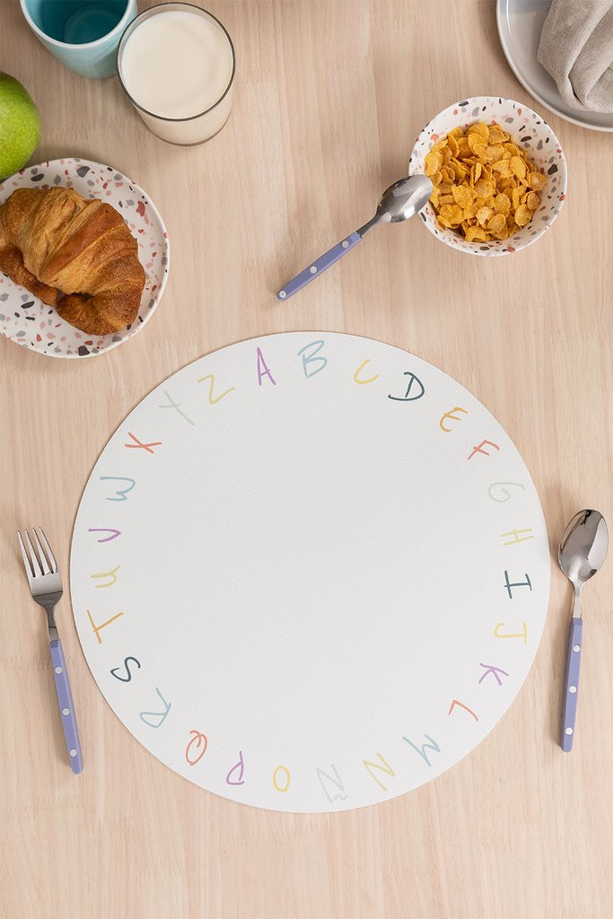 Individual Round Vinyl Tablecloth Letters Kids, gallery image 1