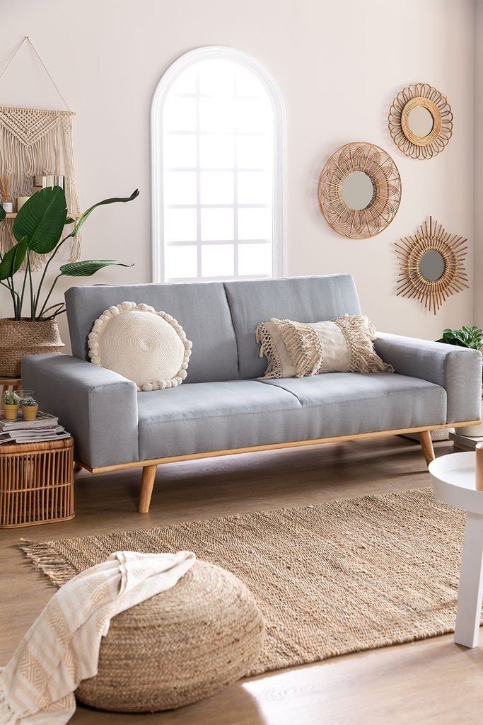 Hesson 3 Seater Linen Sofa Bed, gallery image 1