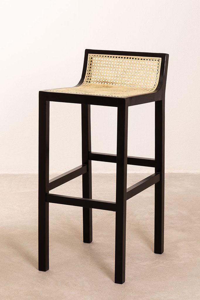 High Stool with Wooden Backrest Mikel, gallery image 1