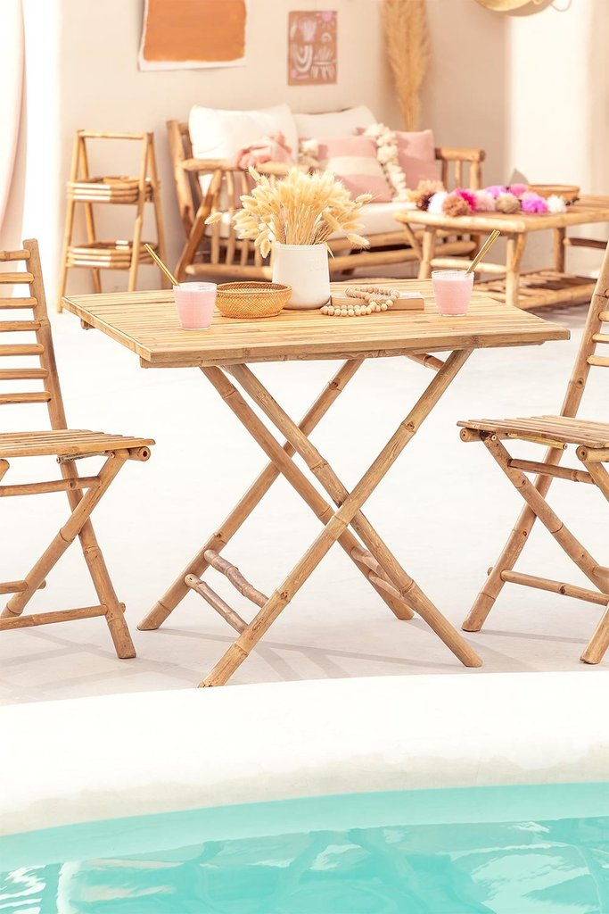 Allen Bamboo Folding Table, gallery image 1