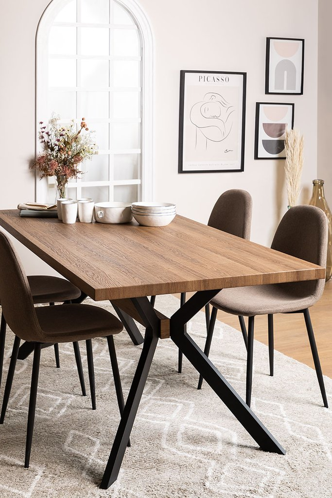 Rectangular Dining Table in MDF and Metal (180x90 cm) Kogi, gallery image 1