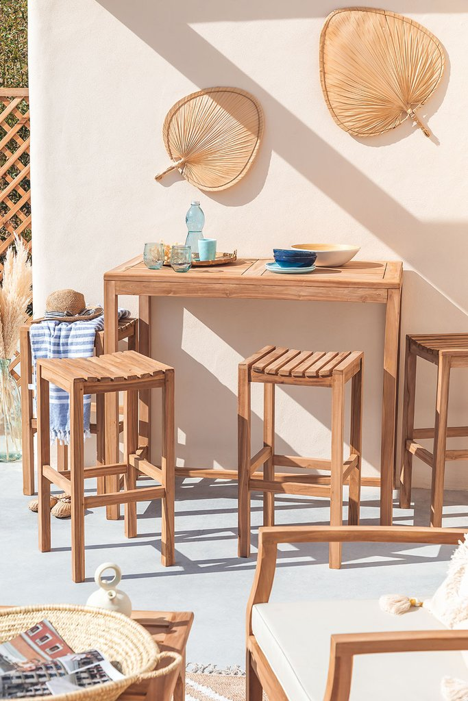 Garden Set Table and 4 Tall Stools in Teak Wood Pira, gallery image 1