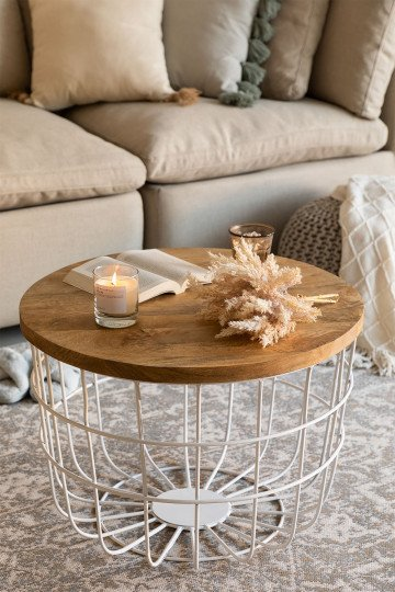 Round Coffee Table in Recycled Wood and Steel (Ø62 cm) Ket