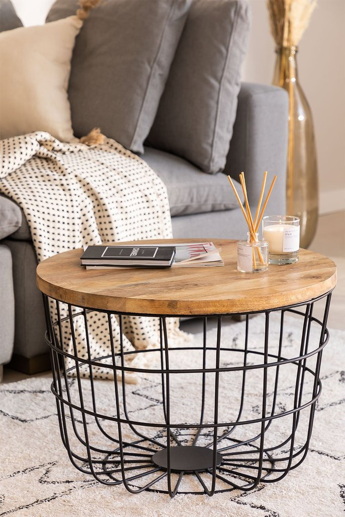 Round Coffee Table in Recycled Wood and Steel (Ø62 cm) Ket, gallery image 1